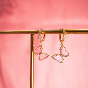 18K Pink Butterfly Earrings