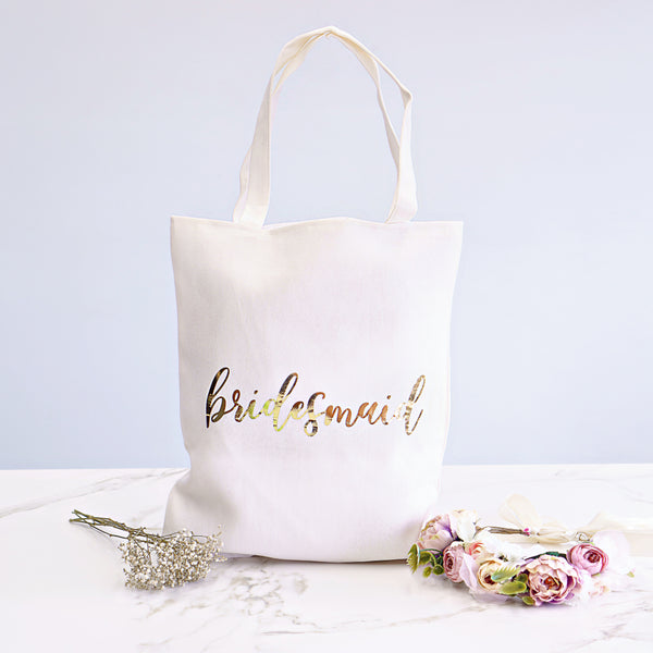 Metallic Bridesmaid Tote Bag - Styleper