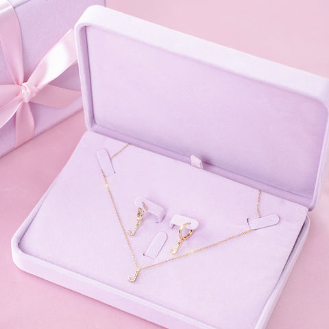 Custom Initial Necklace & Earrings Gift Set - Styleper