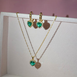 Emerald Self-Love Earrings & Necklace Set