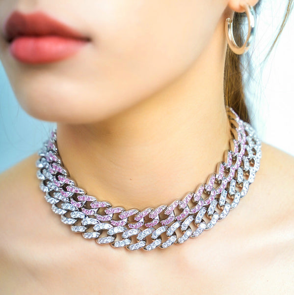 Barbie Pink Cuban Link Necklace - Styleper