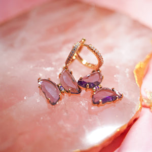 18K Purple Butterfly Earrings