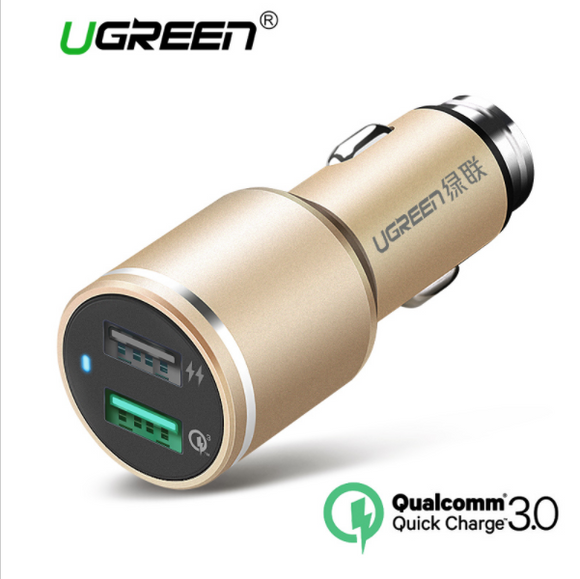 Ugreen USB Car Charger 2 Port Quick Charge 3.0 Car-Charger 4.8A Dual Fast Car Quick Charger