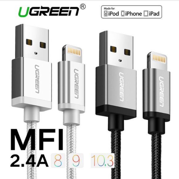 Ugreen Fast Charger Nylon Lightning to USB Cable for USB Data Cable for iPhone 6 5 5s iPad iPod Mobile Phone Cables
