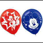 Mickey Mouse Latex Balloons Blue & Red 30cm - 6pk
