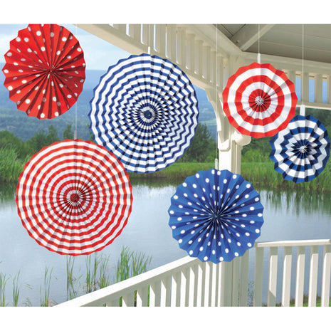 Paper Fans Summer Red White & Blue - 6pk