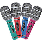 Inflatable Microphones Mixed Colours - 4pk