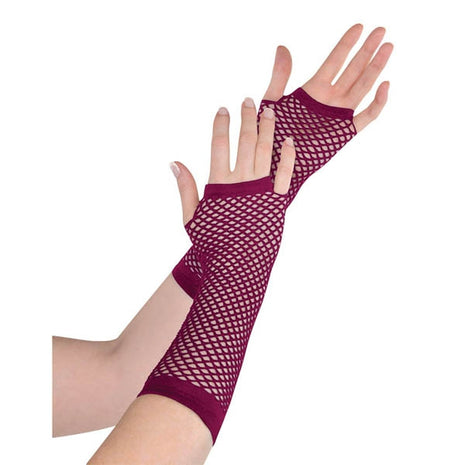 Gloves Fishnet, Burgundy (Long)