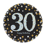 Sparkling Black 30 Happy Birthday Dinner Plates - 8pk