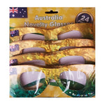 Glasses Australia Day Green & Gold  Cardboard - 24pk