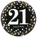 Sparkling Black 21 Happy Birthday Dinner Plates - 8pk