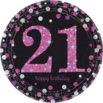 Sparkling Pink 21 Happy Birthday Dinner Plates - 8pk
