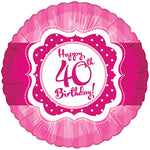 Perfectly Pink 45cm 40th Birthday Foil Balloon