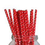 Paper Drinking Straws Red & White Dots - 20pk