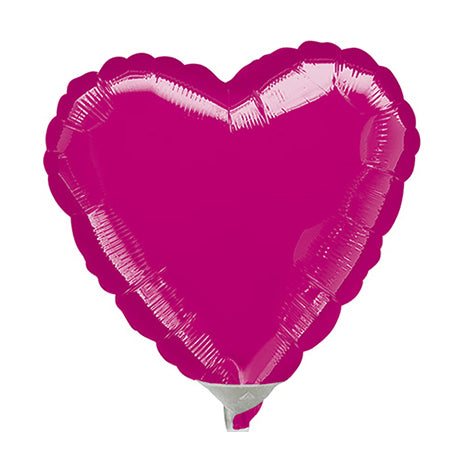 10cm Heart Fuchsia Foil Balloon (Inflated)