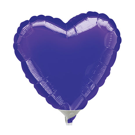 10cm Heart Purple Foil Balloon (Inflated)