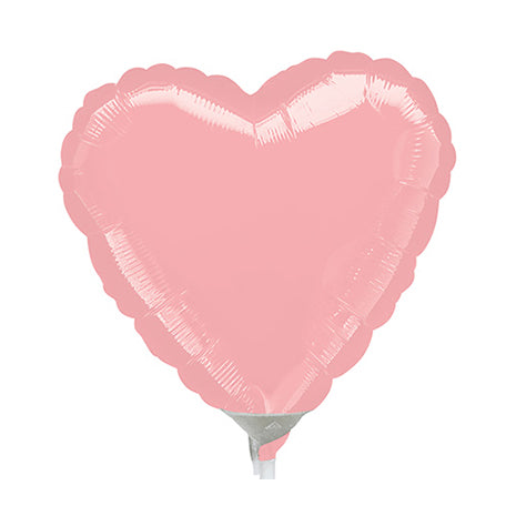 10cm Heart Pastel Pink Foil Balloon (Inflated)