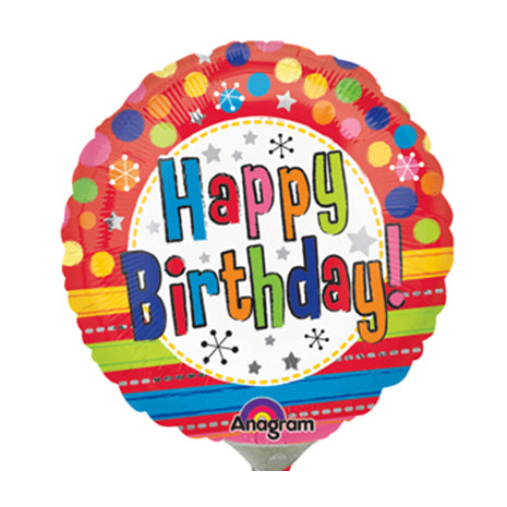 10cm Happy Birthday! Bright Dots & Stripes (Flat) Foil Balloon