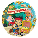 45cm Jake & The Neverlands Pirates Happy Birthday Foil Balloon