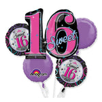 Sweet 16 Sparkle Bouquet 1 x Super Shape & 4 x 45cm - 5pk Balloon