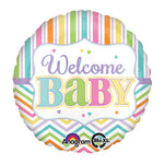 Welcome Baby Brights Chevron & Stripes 45cm Balloon