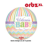Shape Balloon - Orbz Welcome Baby Chevron & Stripes Brights