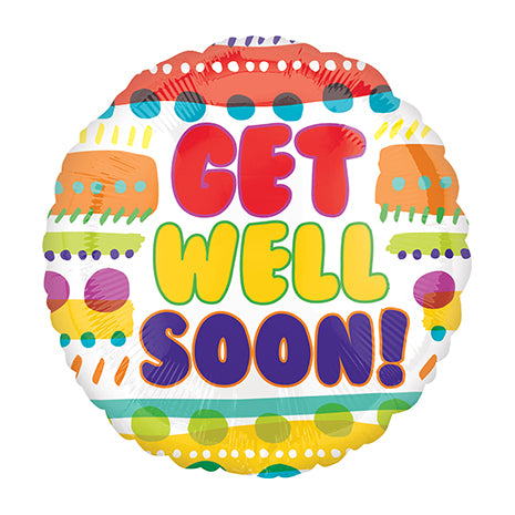 10cm Get Well Soon! Fun Patterns (Flat) Foil Balloon