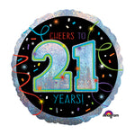 45cm Cheers To 21 Years Streamers Holographic Foil Balloon