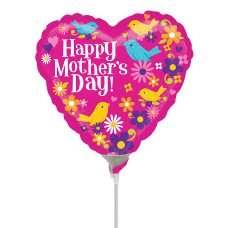 10cm Happy Mother's Day Birds & Flowers (Flat) Foil Balloon