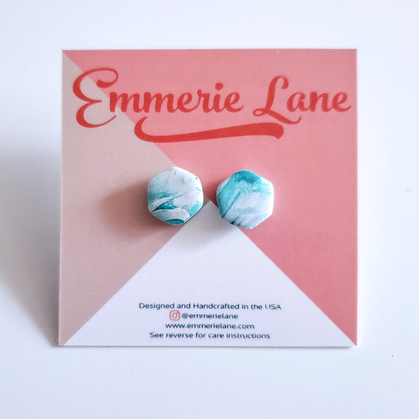 Vineyard Stud Marble - Polymer Clay Earrings