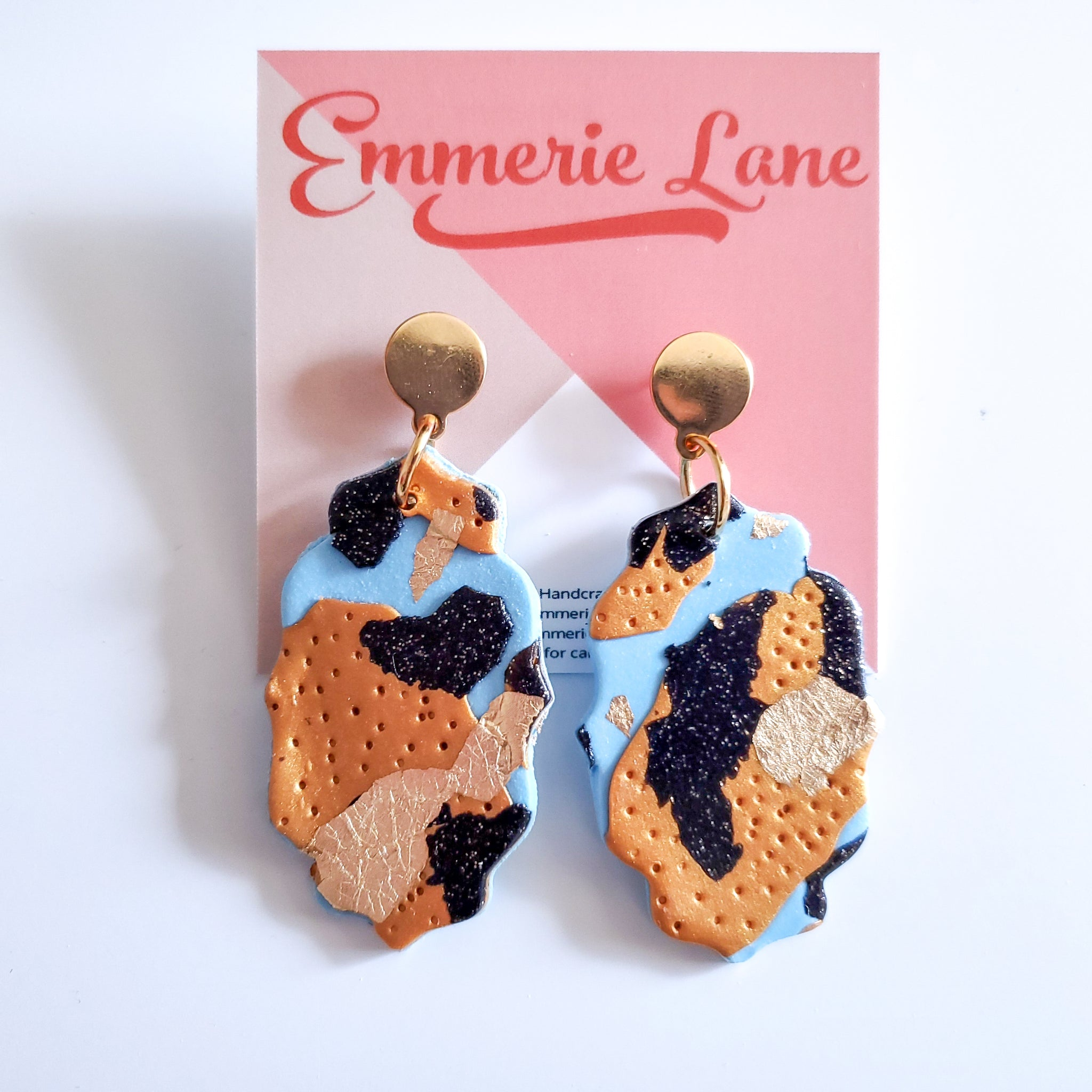 Tiger King Marble Statement - Polymer Clay Earrings