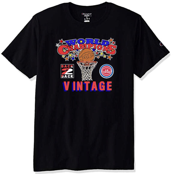 """Back 2 Back"" Champion T-Shirt (Black) - A.M. VINTAGE"