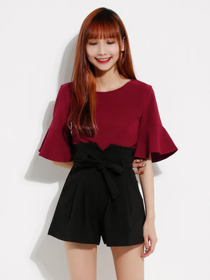 Bell Sleeve Top With Short Pants Set 12915