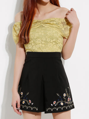 Lace Top With Front Embroidery Short Pants Set 12966