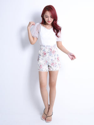 Net Sleeve Top With Short Pants Set 10940