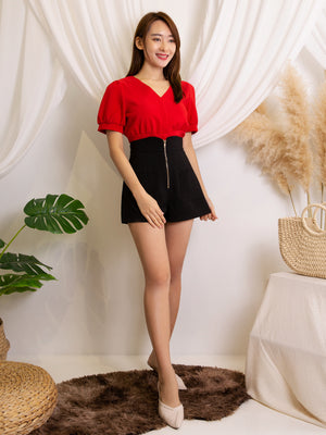 V Neck Top With Front Zip Short Pants Set
