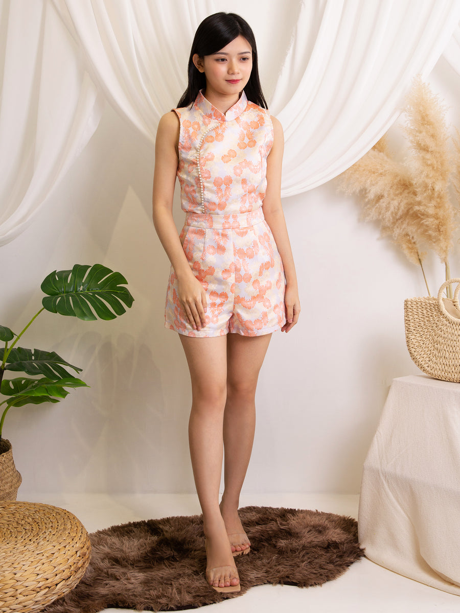 Cheongsam Top With Short Pants Set 11543