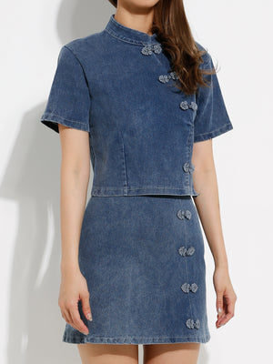 Denim Cheongsam Top With Denim Skirt Set 12947