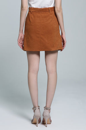 Button Zip Skirt 1846 - ample-couture