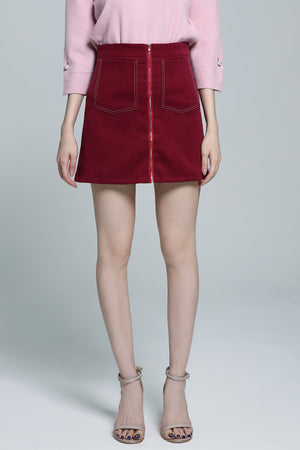 Plain Zip Skirt 1845 - ample-couture