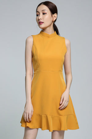 Plain Dress 1866 Yellow / S Dresses
