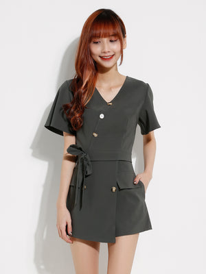 Front Button Top With Short Pants Set 12903