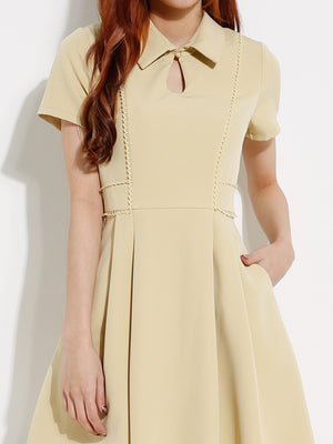 Collar Keyhole Dress 12936