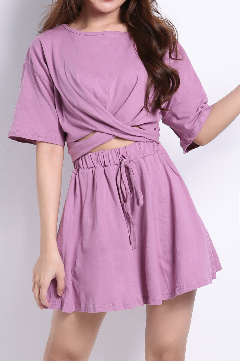 Tie Up Top With Skirt Set 8976