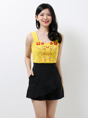 Front Printed Flower Top 12330