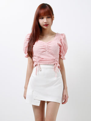 Square Neck Eyelet Top 12344