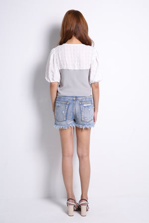 Ripped Denim Short Pants 10329