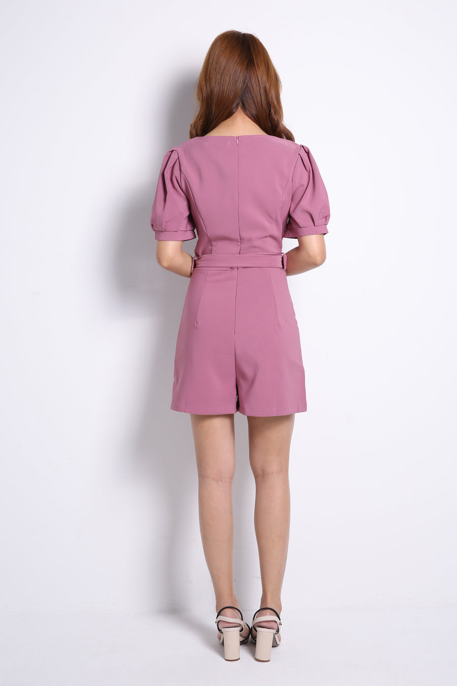 Button Jumpsuit With Tie Up Belt 10379