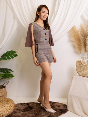 Cape Checker Top With Short Pants Set