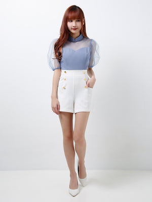 Puffy Mesh Sleeves Top (Premium Quality Ready Stock)